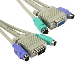 10m 2x M-M PS/2 & 1x SVGA M-F KVM Cable