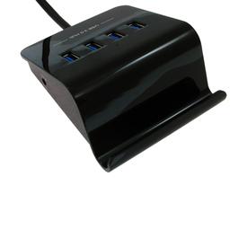 Black 4 Port USB3.0 Hub with Stand