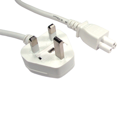 1.8m UK Plug to C5 Mains Lead - White