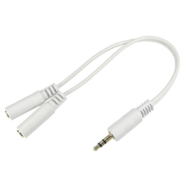 0.2m 3.5mm Stereo Splitter Cable - White