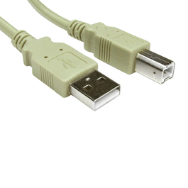 1m USB 2.0 Type A (M) to Type B (M) Data Cable - Beige
