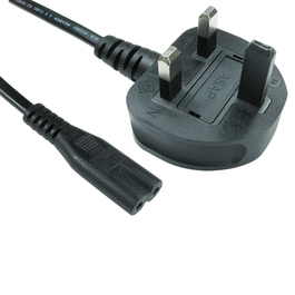 2MTR UK PLUG (M)-C7 (F) FIGURE 8 BLACK POWER CABLE B/Q 80