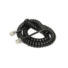 2m Curly Coiled Telephone Handset RJ10 Cable (Black)