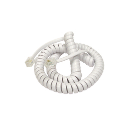 2m Curly Coiled Telephone Handset RJ10 Cable (White)
