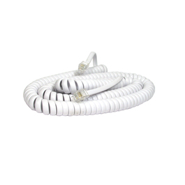 5m Curly Coiled Telephone Handset RJ10 Cable (White)