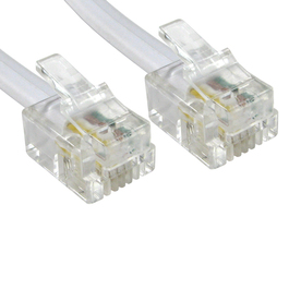15m 4 Pin Fully Wired RJ11 Telephone Cable (White)
