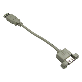 0.18m USB 2.0 Type A (F) to Type A (F) Panel Mount Cable - Beige