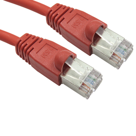1m Cat6 Snagless Full Copper Shielded FTP RJ45 Ethernet Cable (Red)